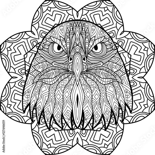 Coloring Book Page For Adults Hand Drawn Figure Of An Eagle With