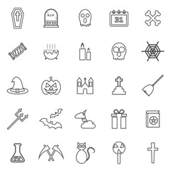 Halloween line icons on white background