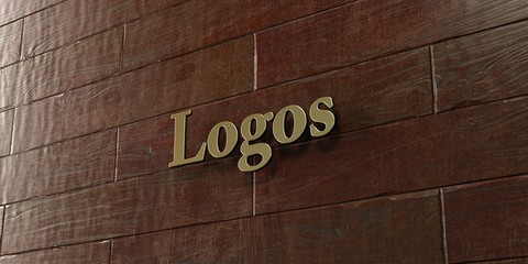 Logos - Bronze plaque mounted on maple wood wall  - 3D rendered royalty free stock picture. This image can be used for an online website banner ad or a print postcard.