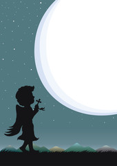 Night sky and starry with speech bubble or moonlight. Silhouette of angel praying at night.