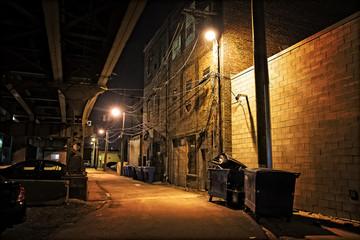 Wall Mural - Dark City Alley at Night