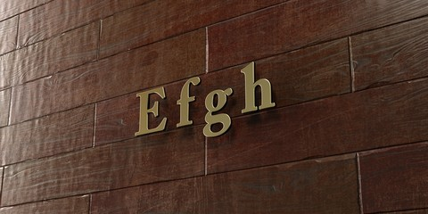 E f g h - Bronze plaque mounted on maple wood wall  - 3D rendered royalty free stock picture. This image can be used for an online website banner ad or a print postcard.