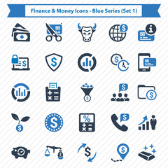 Finance & Money Icons - Blue Series (Set 1)