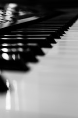 Piano keyboards black and white closeup | classic musical instrument | music entertainment