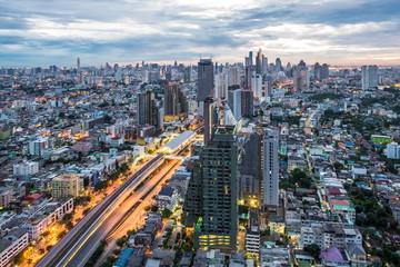 Bangkok dawn, City scape view on metropolis of Thailand