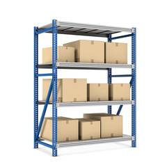 Rendering metal rack with beige cardboard boxes of different size stored there, isolated on the white background.