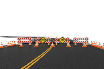Rendering of road closed with barriers, traffic cones and caution signs due to roadworks diversion.