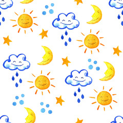 Weather watercolor pattern. Cute smiling sun, moon, star, drops, and cloud.  hand painted illustration.