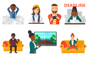Vector set of business character and people gaming