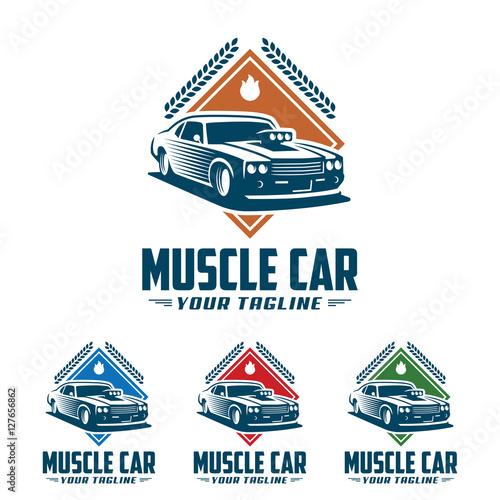 Muscle Car Logo Retro Logo Style Vintage Logo Stock Image And