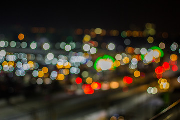 bokeh night life blur and defocus traffic in Bangkok Thailand, N