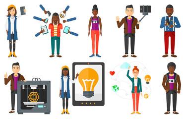 Vector set of people using modern technologies.
