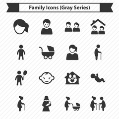 Family Icons (Gray Series)