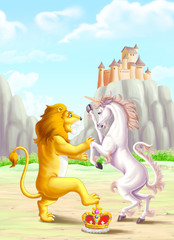 Lion fight with unicorn