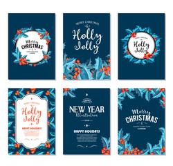Holly Jolly - Christmas banners set. Vector art.
