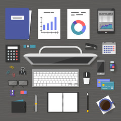 The concept banner marketing and management, office tools objects and devices on table, flat symbol top view, modern design, work space vector illustration