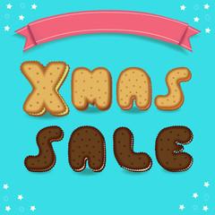 Xmas sale. Cookies chocolate font.