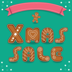 Xmas sale. Gingerbreads cookies font