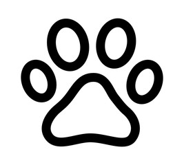 Dog or cat paw print line art icon for animal apps and websites