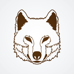 Wolf face front view outline graphic vector.