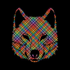 Wolf face front view designed using colorful pixels graphic vector.