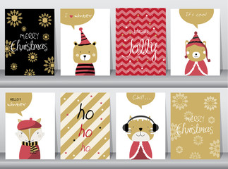 Set of cute Merry christmas  background with cute animal and winter clothes, Vector illustrations
