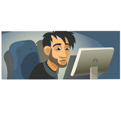 Male computer programmer working. Vector character