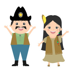 Children in carnival costumes cowboy and Pocahontas. Wild West, cowboys and Indians. Vector cartoon