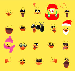 Emotions. A large set of emotions chicken fase. Cartoon character