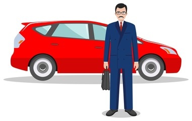 Businessman standing near the red car on white background in flat style. Detailed illustration of automobile and man. Business concept. Flat design people character. Vector illustration.