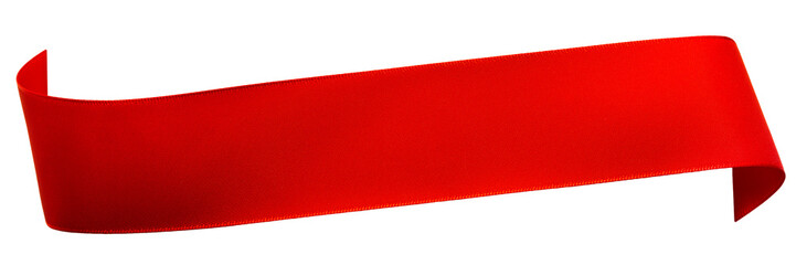 Red satin ribbon isolated on white Fotoväggar