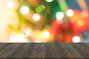 Abstract bokeh background of light with wood terrace