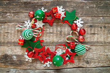 Merry Christmas Wreath Red White Holiday Toys