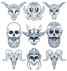 A set of decorative sugar skull illustrations, great for Day of the Dead or printed on different products.