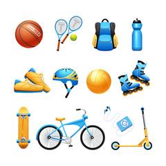 Summer Sport Equipment Flat Icons Set