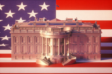 Fototapete - White House On USA Flag 2