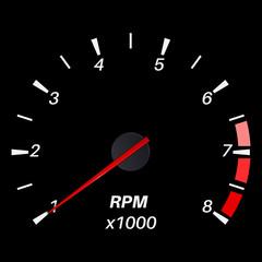 Tachometer. Black round scale