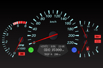 Black dashboard signs. Car computer