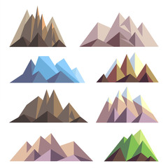 Mountains in polygon origami style vector elements for landscape