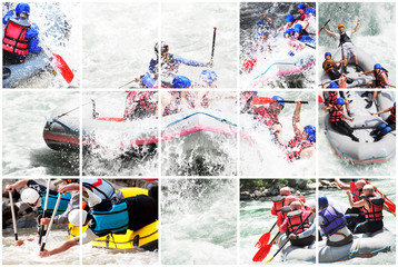 Whitewater rafting collage Wall mural