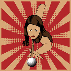 Beautiful woman playing billiards on red vintage background. Vector billiard illustration in vintage pop art style.