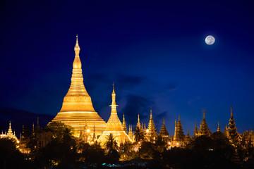 Shwedagon pagoda at dusk, Yangon Myanmar