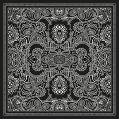 Bandanna shawl fabric print, silk neck scarf, kerchief design vector decoration