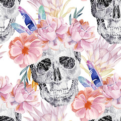 Watercolor seamless pattern with paisley skull, peony, protea. Decoration motif for tattoo, wallpaper, wrapping, cards, halloween decor.