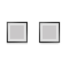 Antique photo frames with shadow for wall, vector illustration