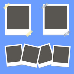 Set of square vector photo frames on sticky tape  on blue background vector illustration