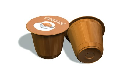 disposable coffee capsules isolated on a white background