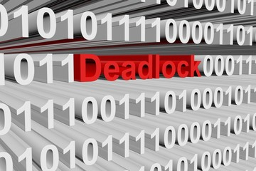 Deadlock in the form of binary code, 3D illustration
