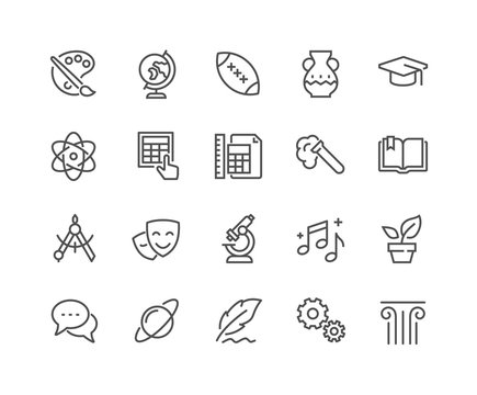 Line School Subjects Icons