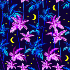 vector palms pattern with stars